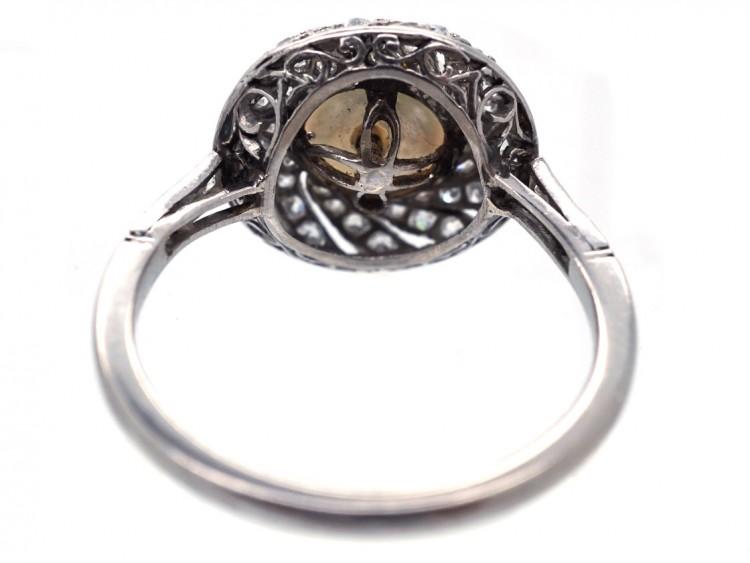 1920s Platinum, Natural Saltwater Pearl & Diamond  Ring