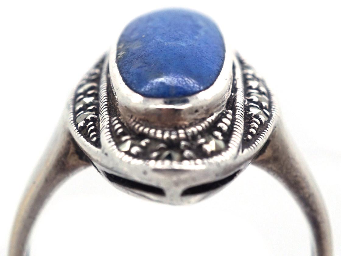Art Deco Silver, Marcasite & Lapis Lazuli Ring