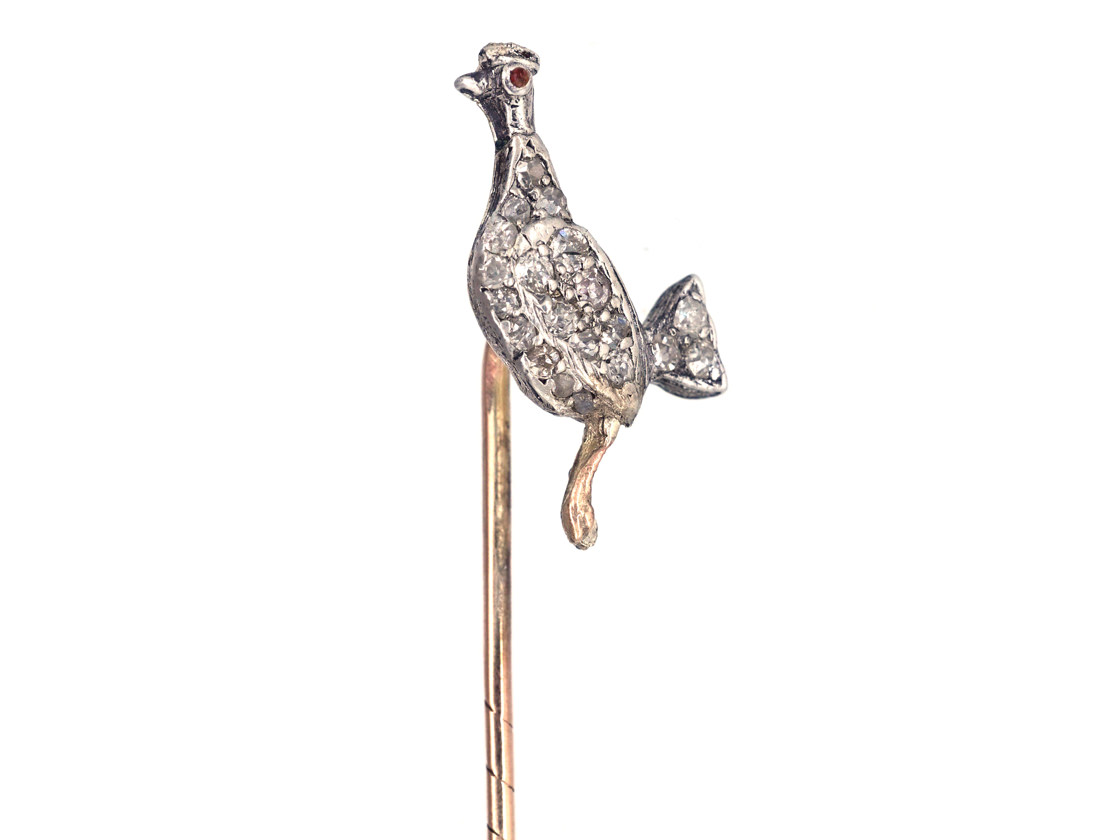 Edwardian Cockerel Diamond Set Tie Pin