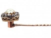 Victorian Diamond & Pearl Tie Pin