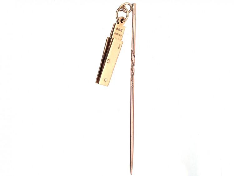 Victorian 9ct Gold Masonic Folding Tie Pin