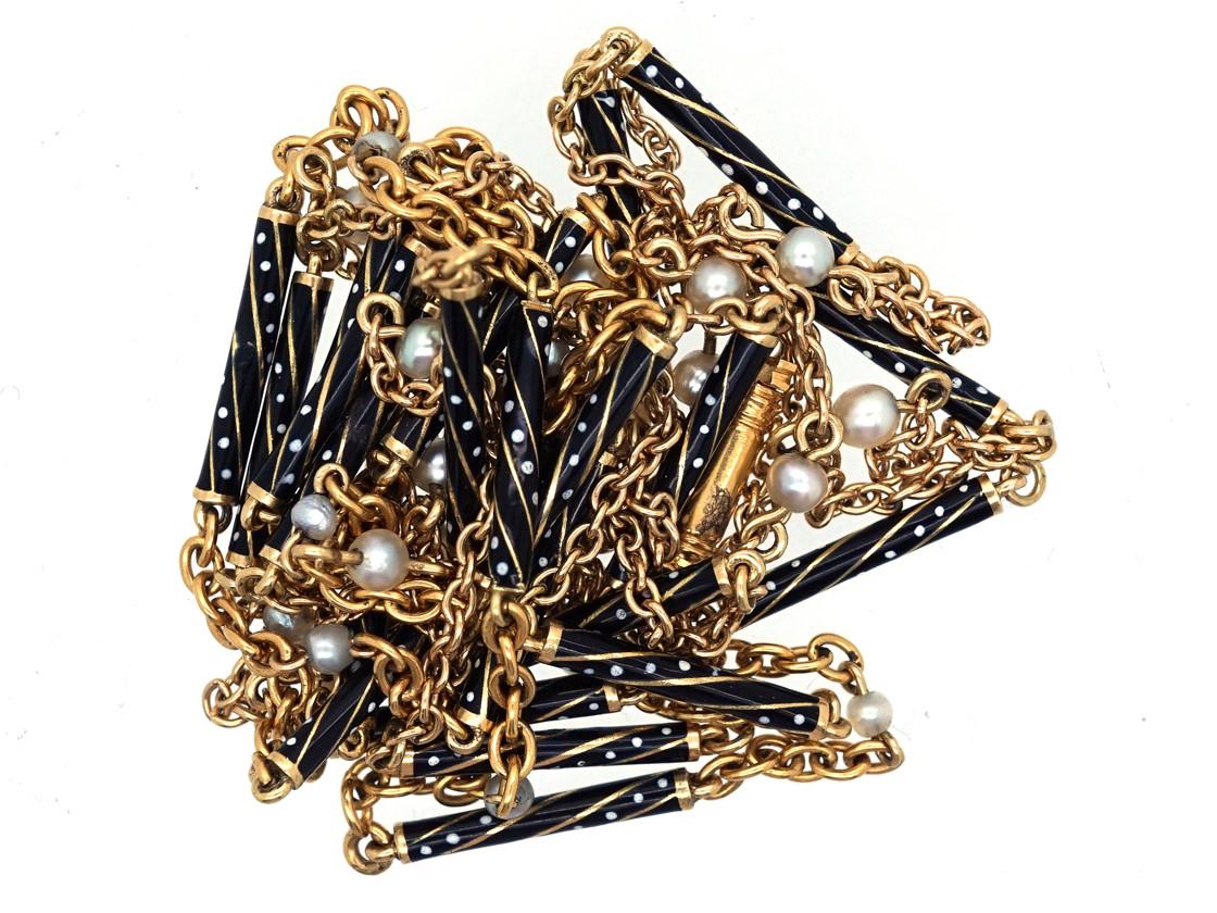 Austrian 14ct Gold, Enamel & Natural Pearl Long Guard Chain