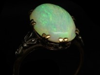 Art Deco 18ct Gold Large Opal Ring
