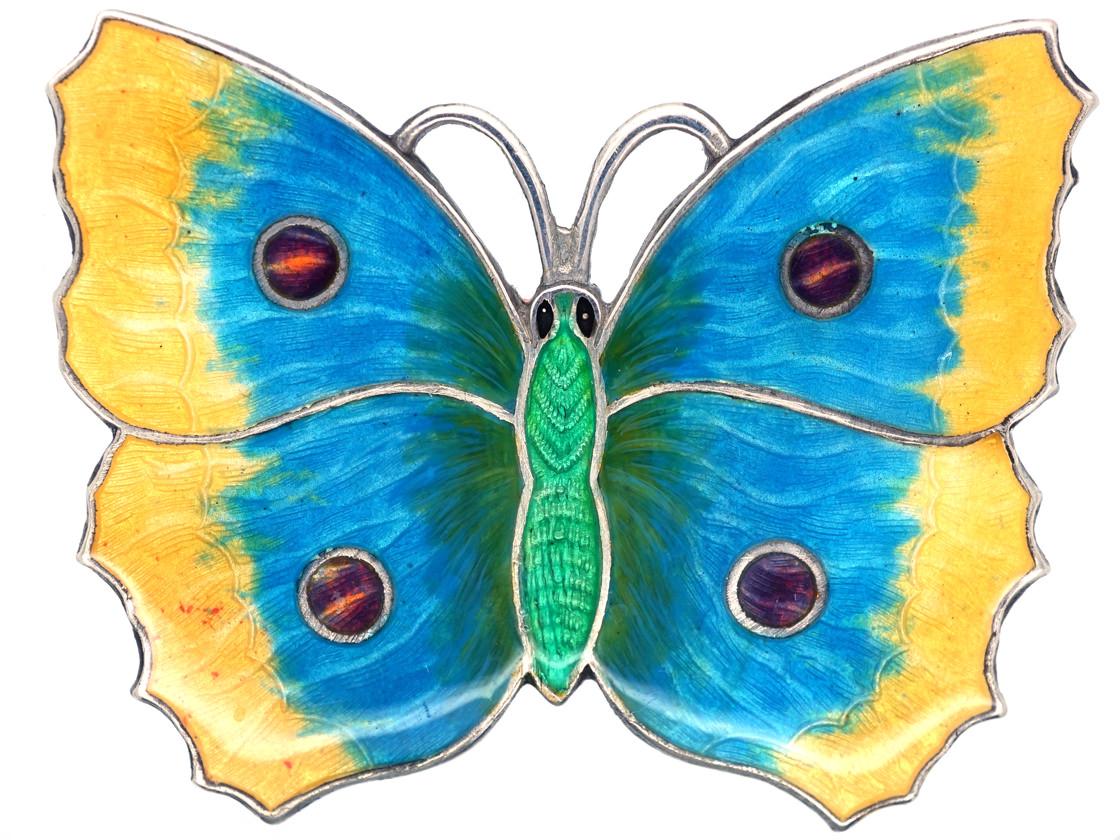 Large Green, Mauve & Yellow Enamel Butterfly Brooch