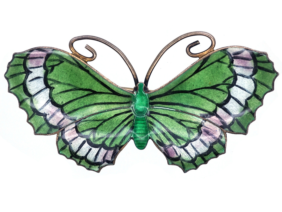 Silver, White & Green Enamel Butterfly Brooch