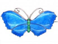 Large Silver, Green & Blue Enamel Butterfly Brooch