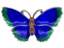 Silver, Dark Blue, Brown & Green Enamel Butterfly Brooch