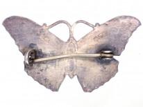 Silver, Light & Dark Blue Enamel Butterfly Brooch