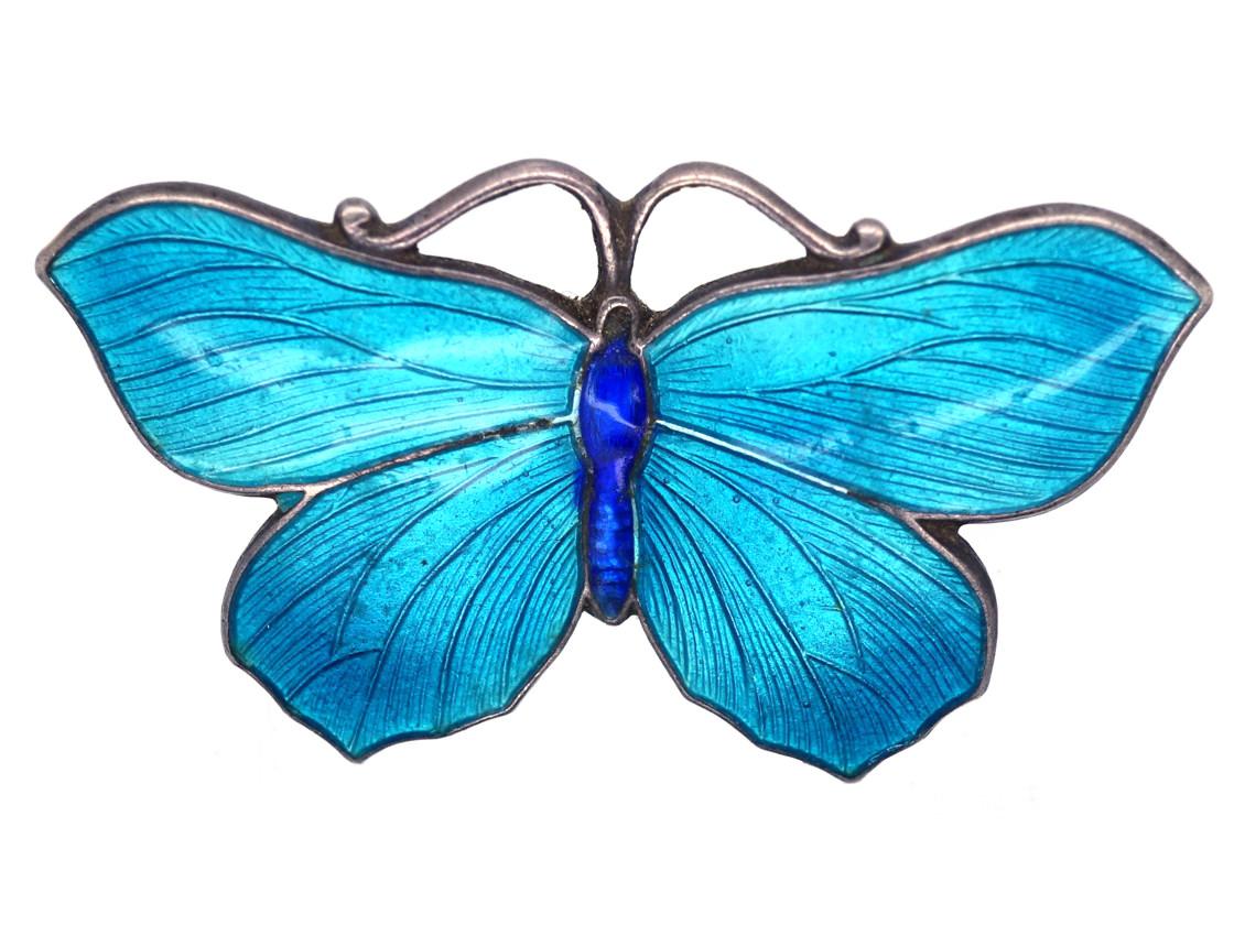 Small Silver, Dark & Light Blue Enamel Butterfly Brooch