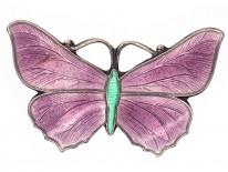 Small Silver, Mauve & Green Enamel Butterfly Brooch