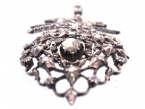 French 18th Century Silver & Diamond Pendant