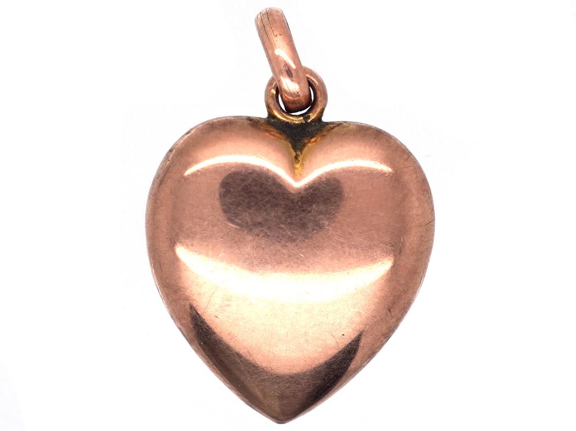 Edwardian 9ct Gold Heart Pendant
