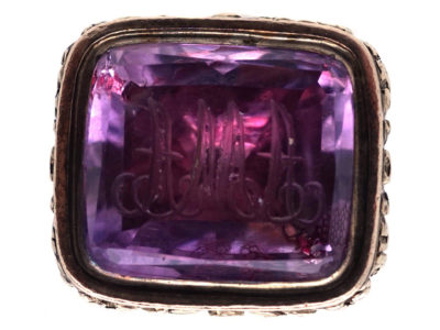 Georgian Seal With Amethyst Base Engraved with Initials A M A