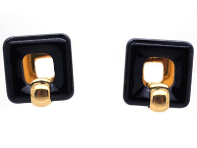 18ct Gold & Onyx Square Hinged Cufflinks