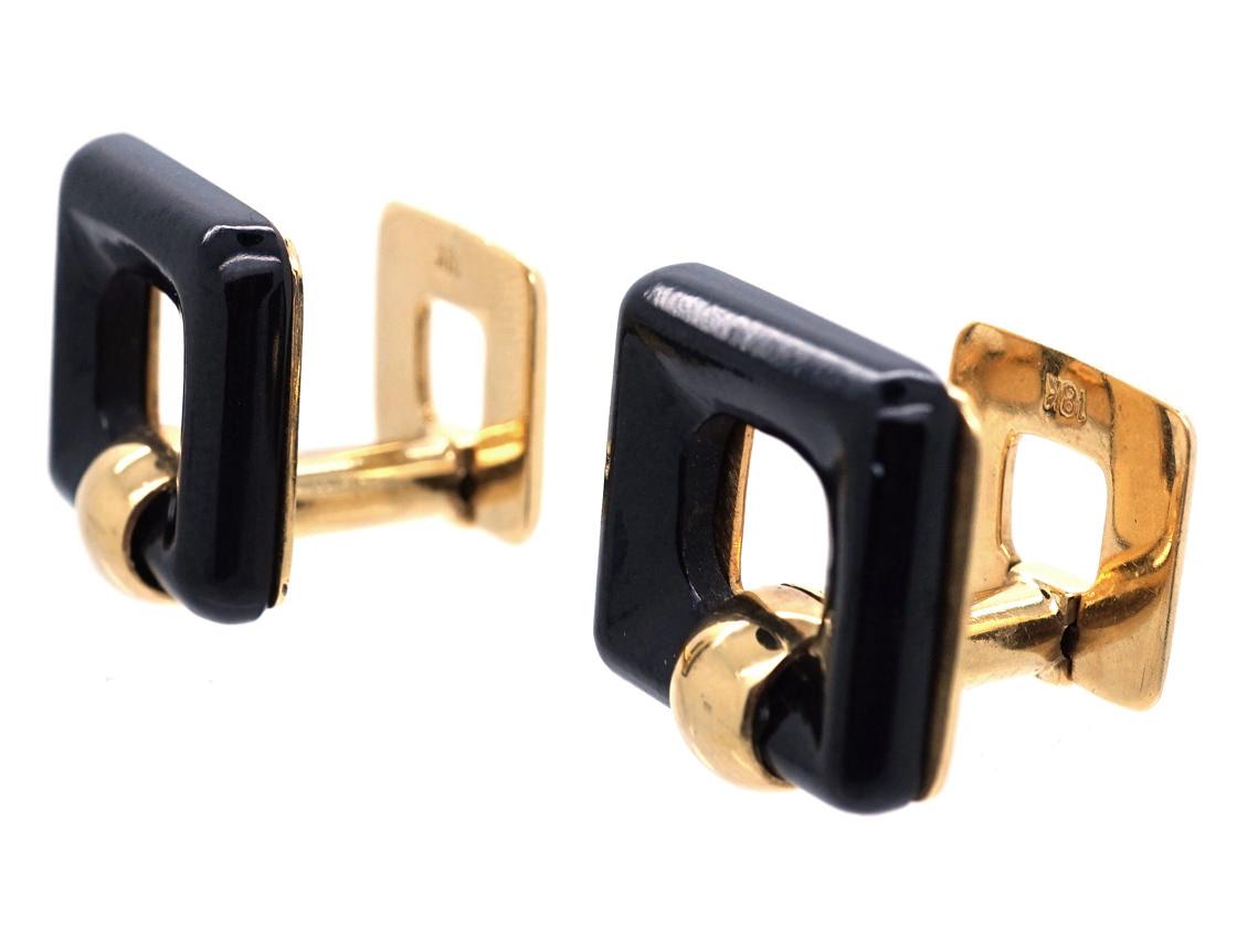 18ct Gold & Onyx Square Hinged Cufflinks