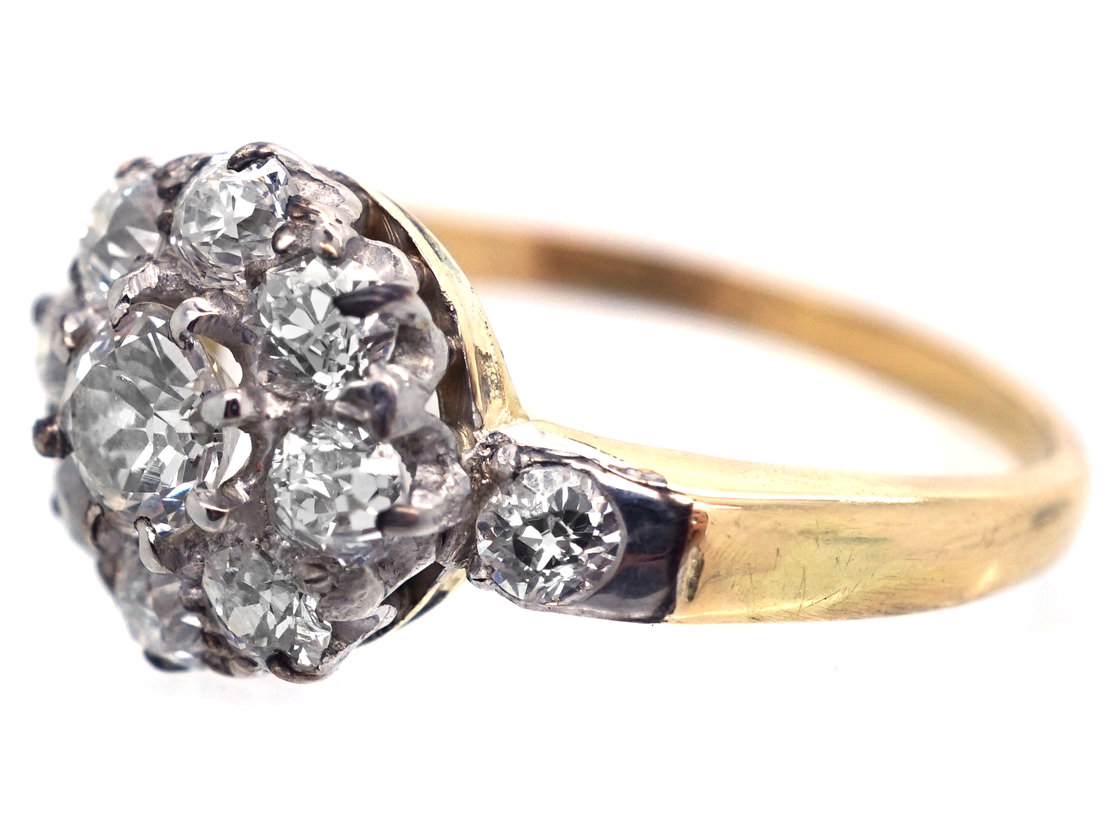 Victorian 18ct Gold & Diamond Cluster Ring with Diamond Shoulders