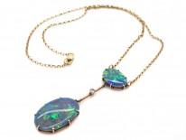 Art Deco Two Stone Black Opal & Opal Pendant on Chain