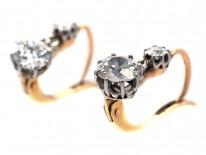 Edwardian Two Stone Diamond Drop Earrings in Original Case