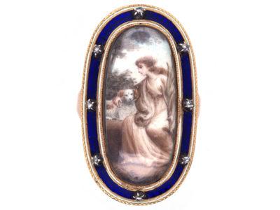 Georgian Gold & Enamel Miniature Ring of a Lady & Her Dog