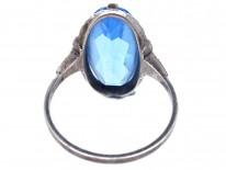 Art Deco Silver & Oval Blue Paste Ring