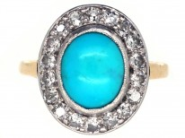 Turquoise & Diamond Oval Cluster Ring