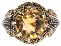 Theodor Fahrner Silver Gilt & Citrine Ring