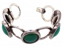 Art Deco Silver & Jade Round Links Bracelet
