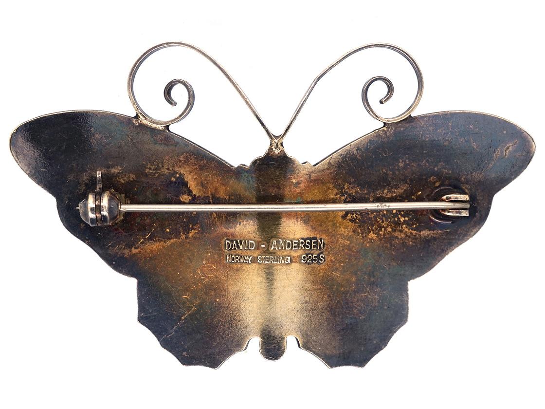 Silver & Blue Enamel Butterfly Brooch by David Anderson