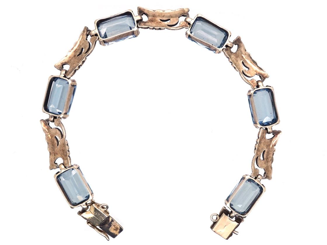 Art Deco Silver Gilt & Blue Paste Bracelet
