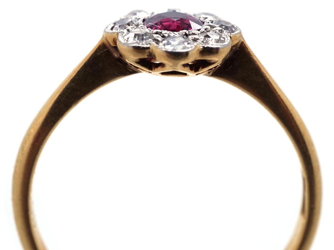 Edwardian 18ct Gold & Platium, Ruby & Diamond Cluster Ring