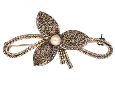 Theodor Fahrner Silver Gilt Flower Brooch
