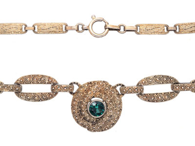 Theodor Fahrner Silver Gilt & Green Tourmaline Necklace