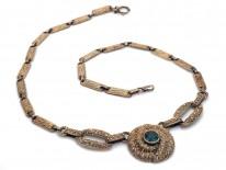 Theodor Fahrner Silver Gilt Necklace set with a Green Tourmaline