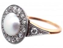 Edwardian Natural Pearl & Diamond Cluster Ring
