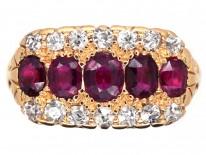 Victorian 18ct Gold, Ruby & Diamond Three Row Ring