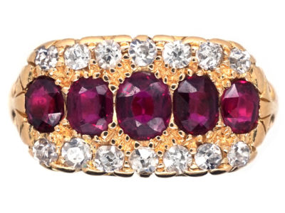 Victorian 18ct Gold, Ruby & Diamond Three Row Ring
