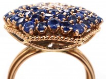 18ct Gold, Sapphire & Diamond Large Cluster Ring