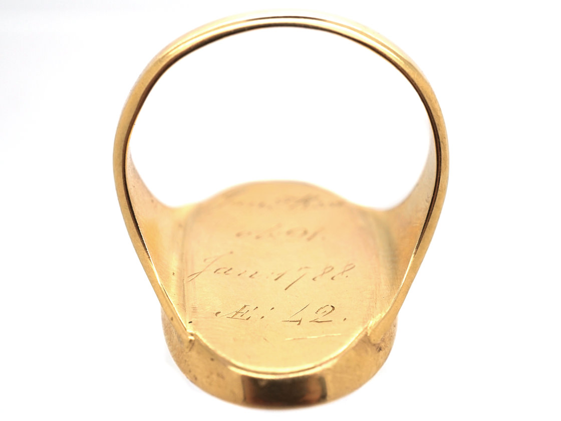Georgian Oval Gold Mourning Ring Containing an Urn above Opaline Glass