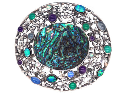 Arts & Crafts Silver, Opal & Abelone Brooch attributed to Rhoda Wager