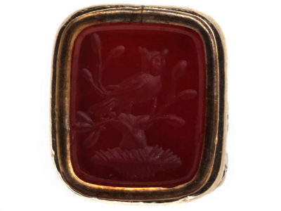 Georgian 15ct Gold Seal with Carnelian Intaglio of an Owl in a Tree