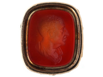 Georgian Gold Seal With Carnelian Intaglio of a Man's Head