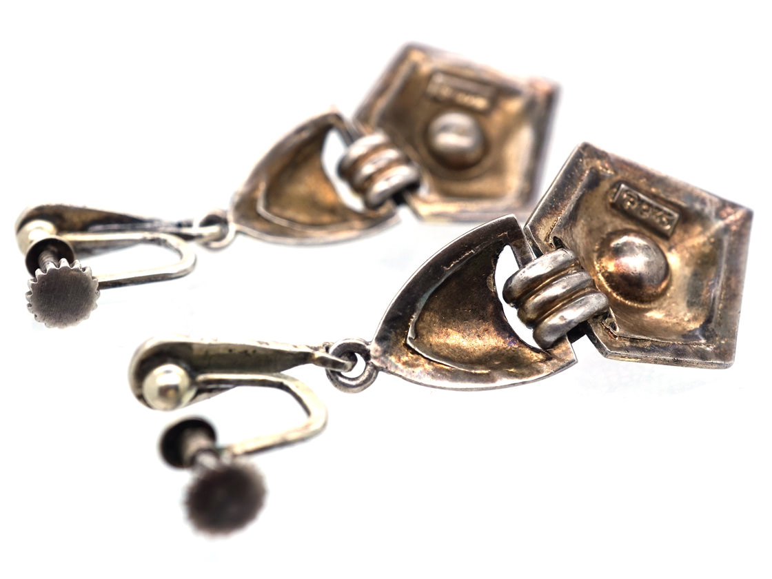 Theodor Fahrner Art Deco Silver Gilt & Coral Drop Earrings