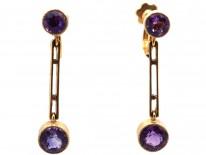 Edwardian 15ct Gold & Amethyst Drop Earrings