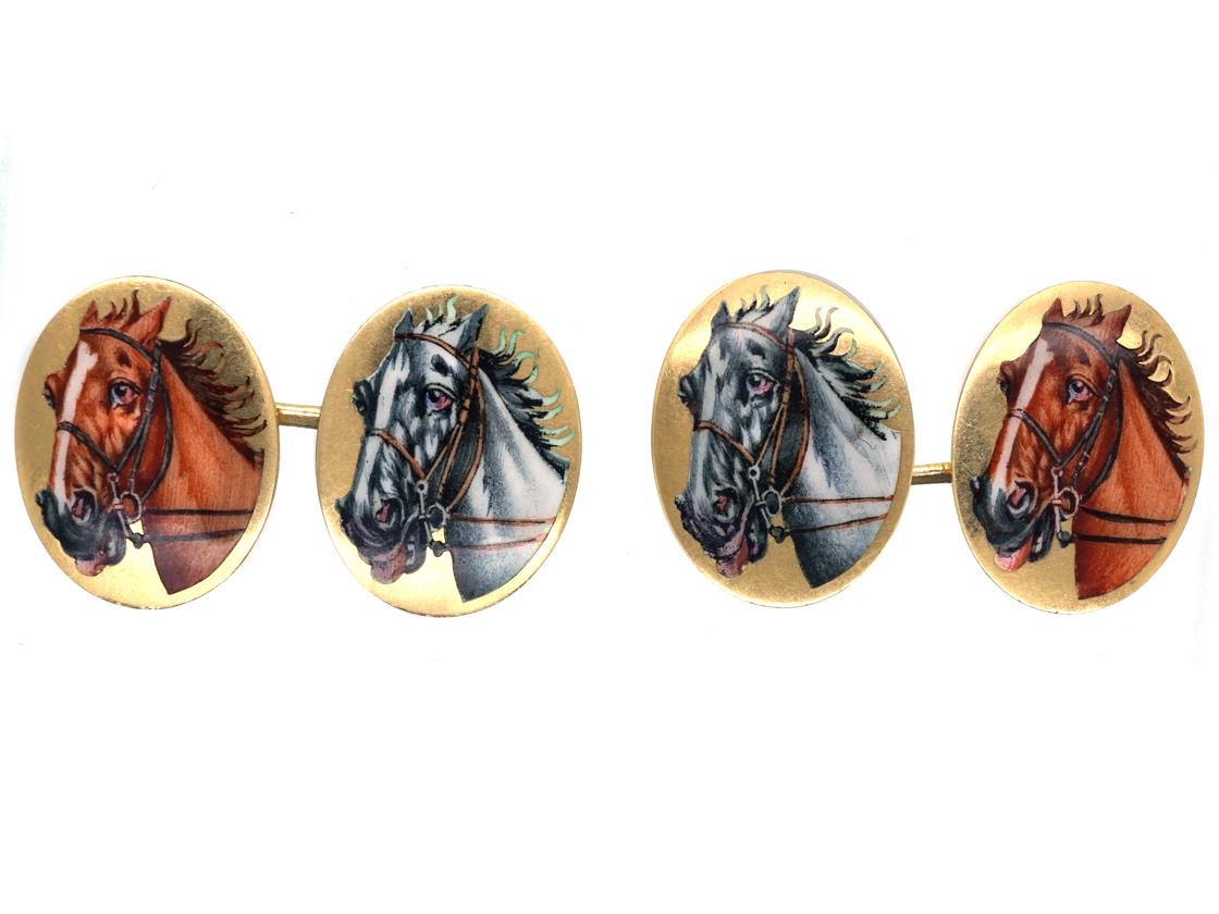 Edwardian 18ct Gold & Enamel Horse's Head Cufflinks