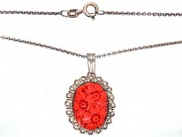 Art Deco Silver Carved Coral Flowers Pendant on a Silver Chain