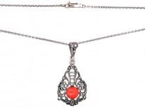 Art Deco Silver, Marcasite & Coral Pendant on a Silver Chain