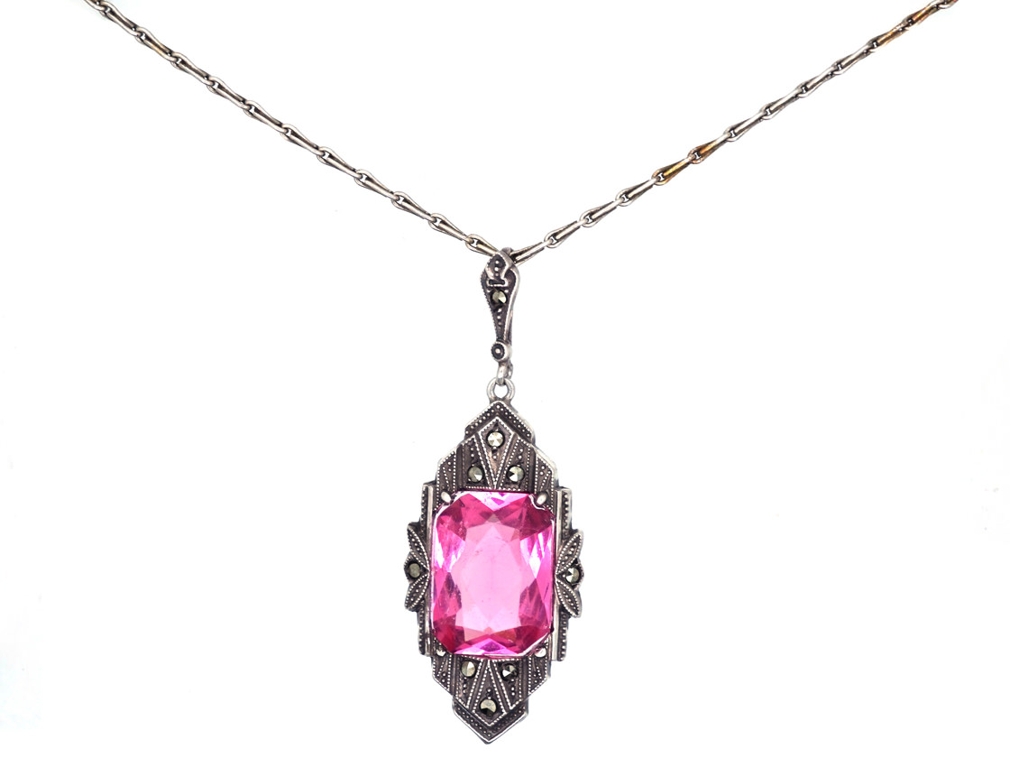 Art Deco Silver, Pink Paste & Marcasite Pendant on a Silver Chain