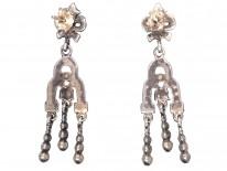 Art Deco Triple Drop Silver & Marcasite Earrings