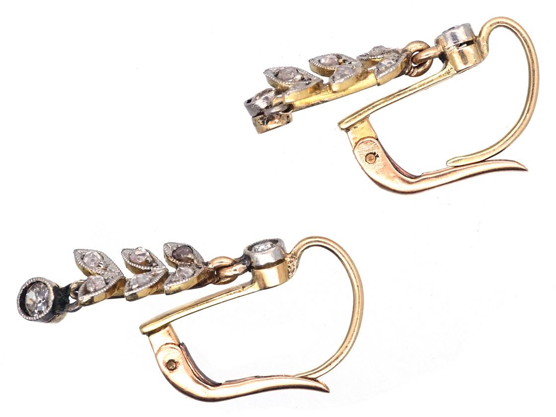 Edwardian Diamond Leaf Drop Earrings