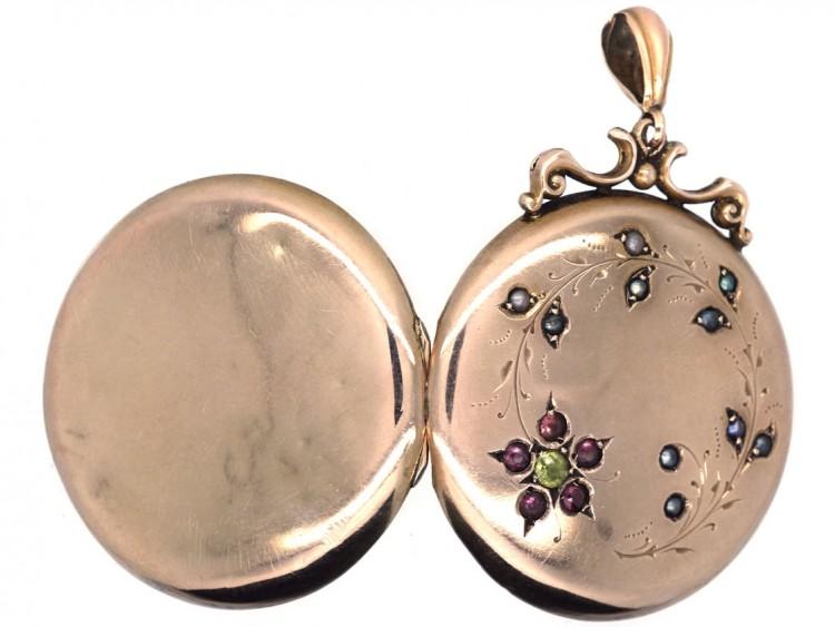 Edwardian 9ct Gold Locket with Garnet & Pearl Floral Detail